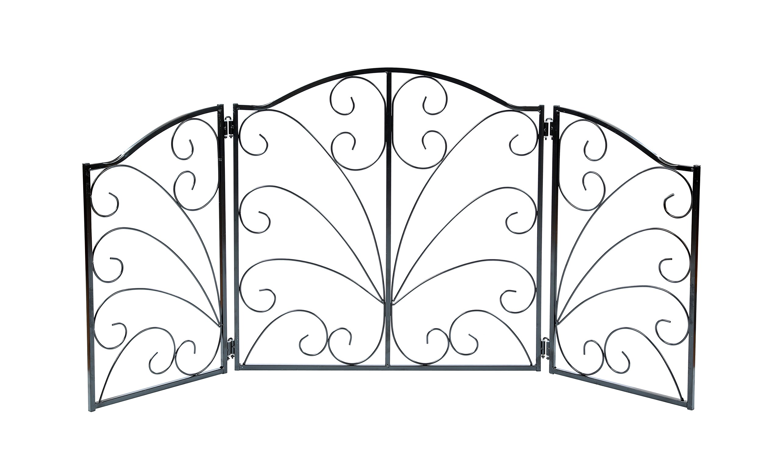Indoor/Outdoor Arched Scroll Metal 3 Panel Pet Gate - Expands From 24'' to 48'