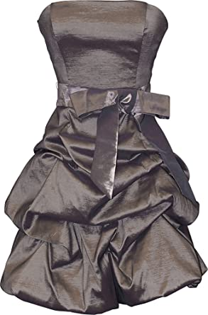 Strapless Taffeta Bubble Dress with Pick-Ups Formal Gown Prom Dress, XL, Pewter