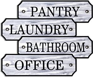 Jetec 4 Pieces Farmhouse Decor Wooden Signs Decorative Cast Wooden Door Room Plaques Printed Laundry Pantry Bathroom and Office for Home Door Decor, 7 x 2.36 x 0.2 Inch