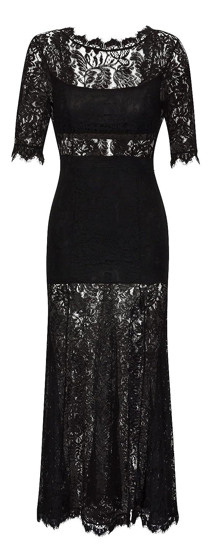 Abendkleid Maxikleid FLORALE SPITZE mit Rücken-Ausschnitt