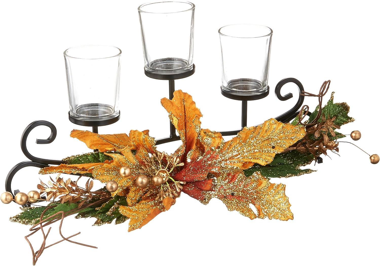 Brown Orange bulk buys OL130 Festive Candle Holder with Leaf Bouquet Black Green Gold