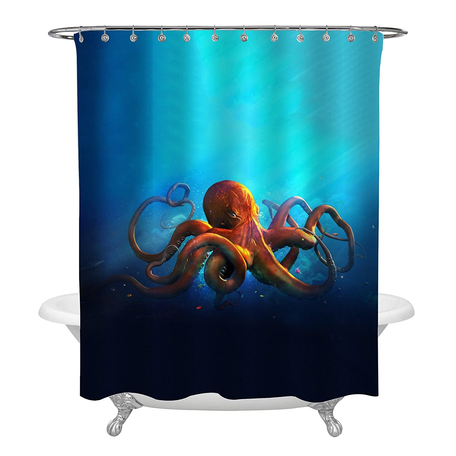 MitoVilla Ocean Life Orange Octopus Shower Curtain Vintage Style Aquatic Animal On Blue Background Kraken Tentacle Bathroom Accessories Creative Gifts For