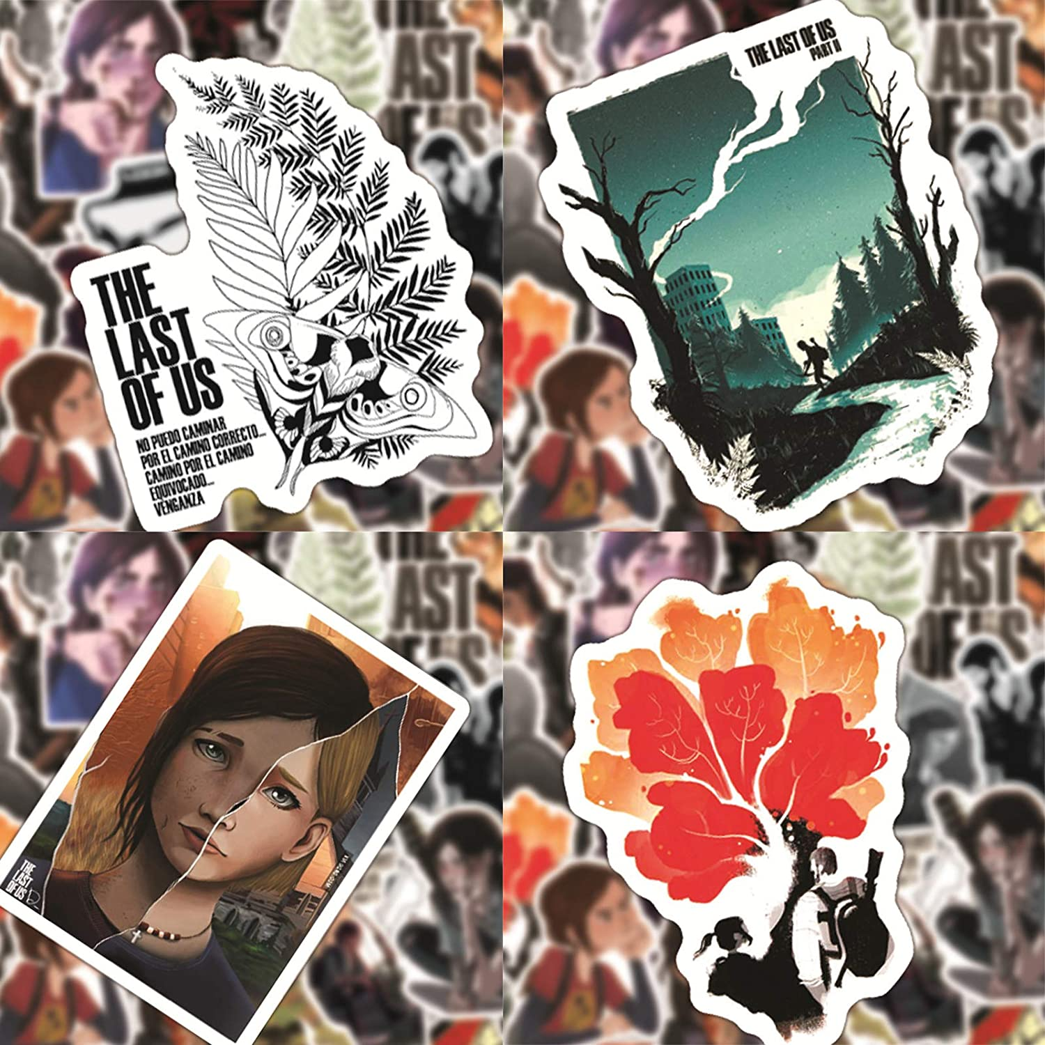 Kilmila The Last of US 02 Stickers 50Pcs (with Logo The Last of us Keychain Gifts)Cute Stickers Vinyl Skateboard Guitar Travel Case Sticker Door Laptop Luggage Car Bike Bicycle Stickers