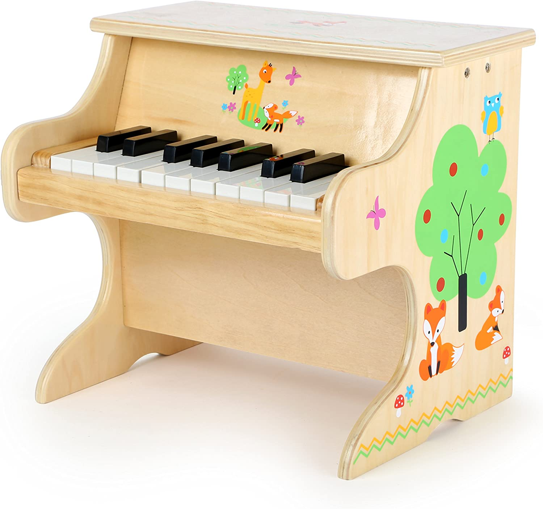 Small Foot 10724Piano de Piano con Aplicaciones de diseño de Animales, Juguete de Madera para los niños con una Escala para Primera músicos, estimula la Creatividad