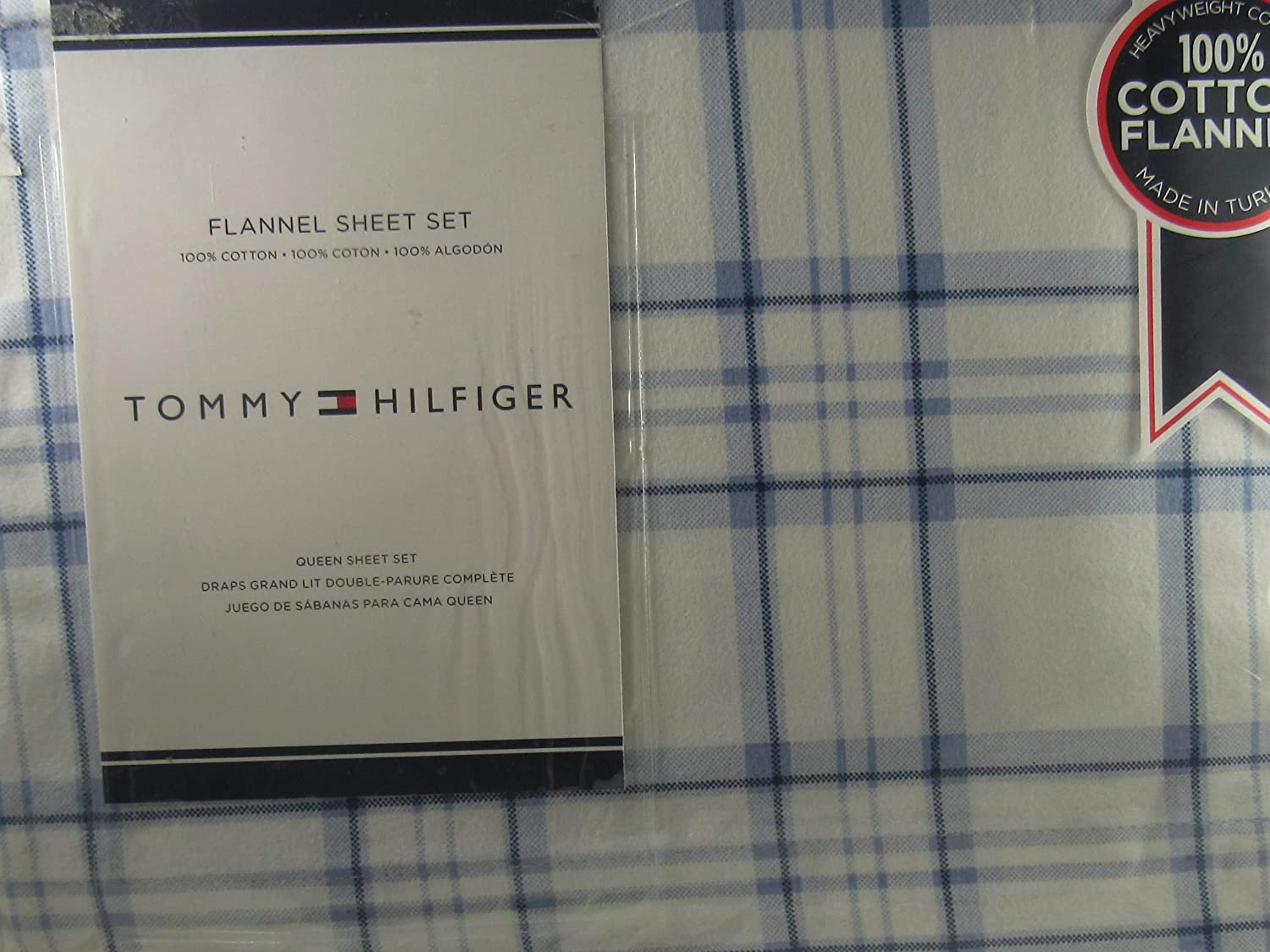 Amazon.com: Tommy Hilfiger Flannel Sheet Set 100% Cotton Christmas Queen Made in Turkey Plaid: Home & Kitchen