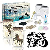 2Pepers DIY Fairy and Unicorn Nightlight Craft Kit (2 Pack), Fairy Lantern Jars Arts and Crafts for Girls, Make Your Own Unicorn Lamp Decor Craft Project, Fairy and Unicorn Gifts for Kids