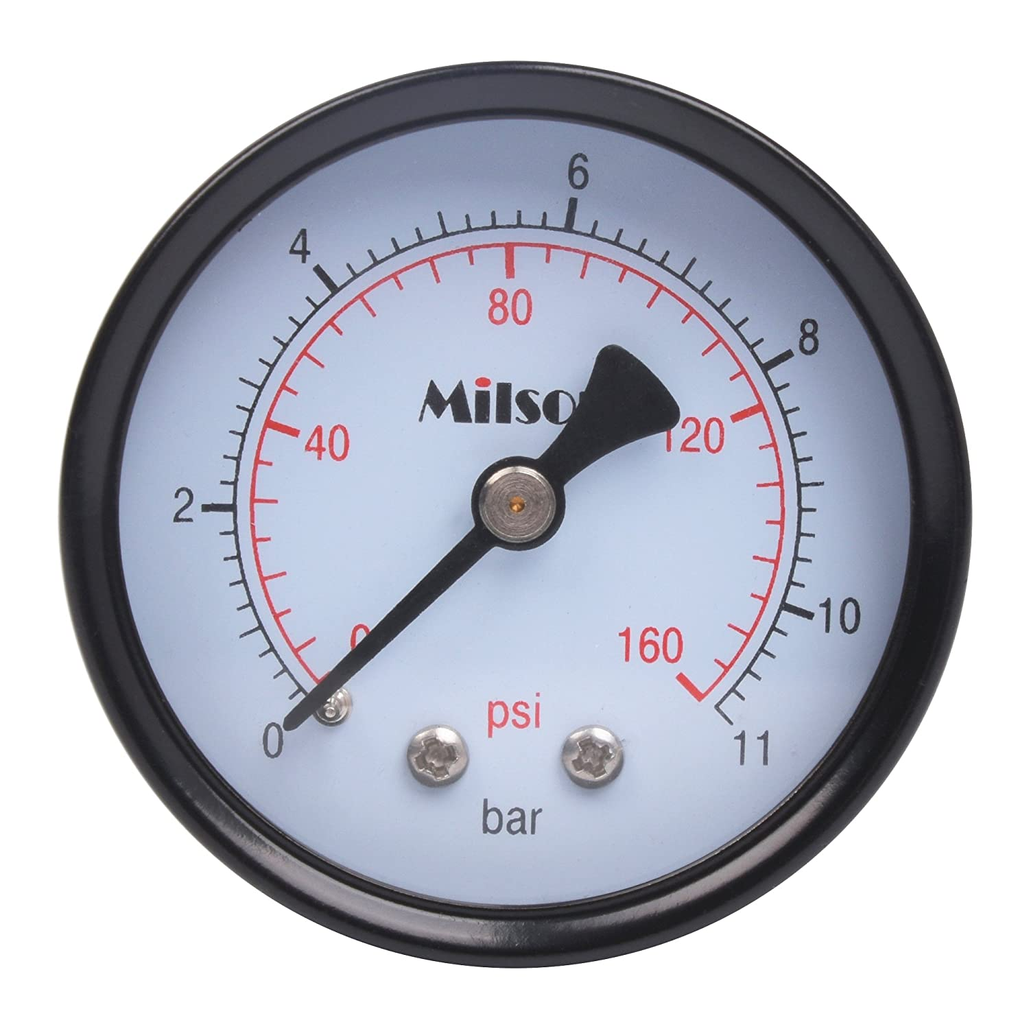 Milson Pressure Gauge 2 Black Steel Case Back Mount 1 4NPT 0 160 Psi Bar Accuracy 2.0 Brass Internal Multiple Function