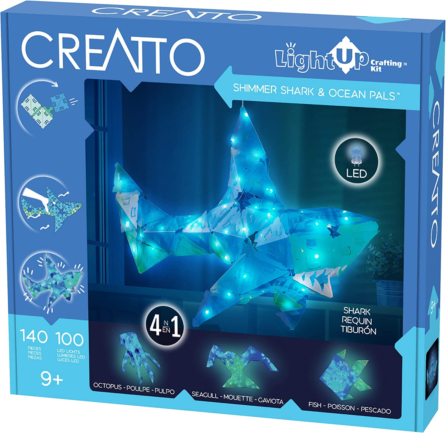 Thames & Kosmos Creatto Shimmer Shark & Ocean Pals | Light-Up Crafting Kit from Make Your Own Illuminated 3D Crafts, Décor & Lamp | Shark, Octopus, Seagull & Fish | DIY Activity Kit & LED Lights