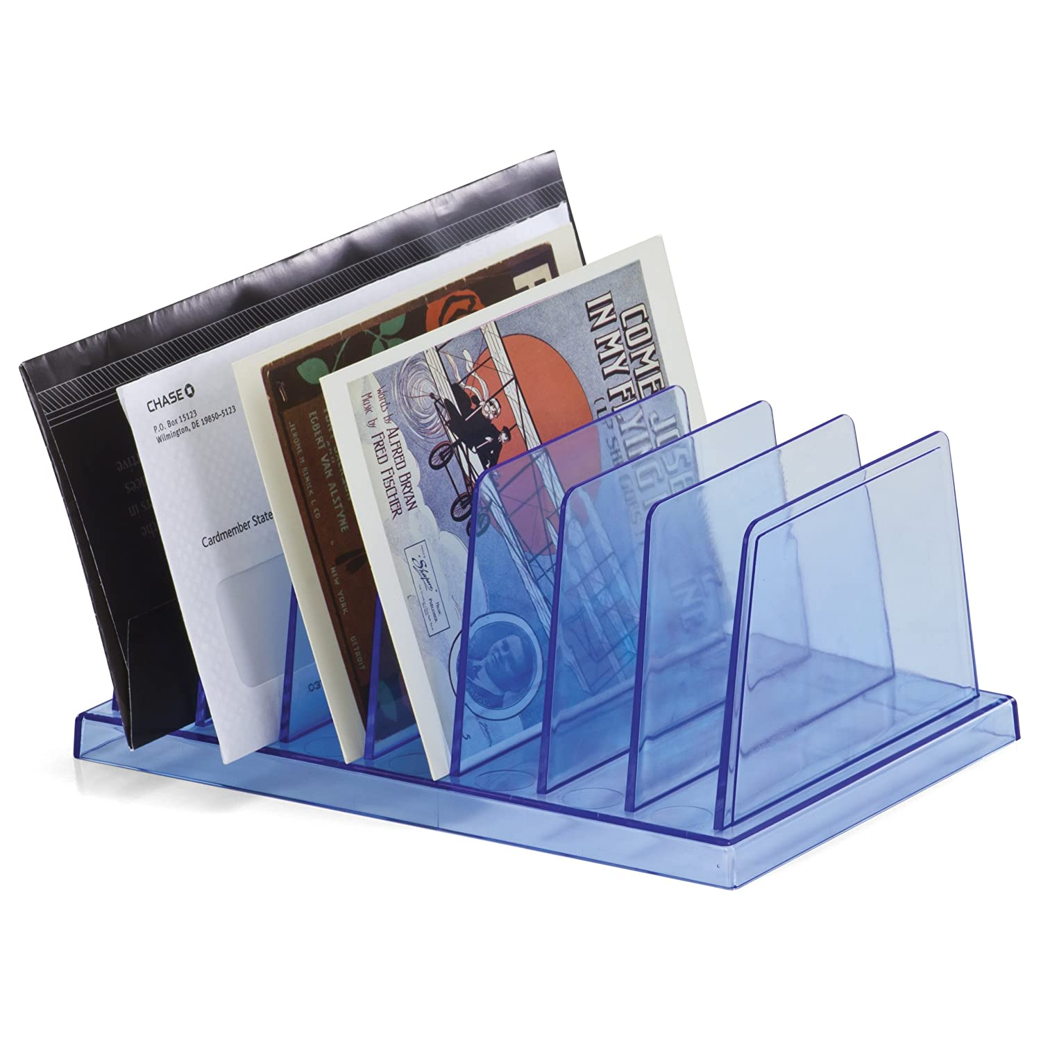 OfficemateOIC Blue Glacier Standard Sorter, 7 Compartments, Transparent Blue (23214)