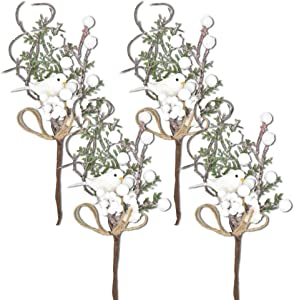 Gift Boutique 12 White Glitter Berry and Pine Cone Christmas Picks with Birds Holly Branches for Holiday Decorations Great Addition to Any Christmas Decor, Crafts, Wreath, Garland or Tree