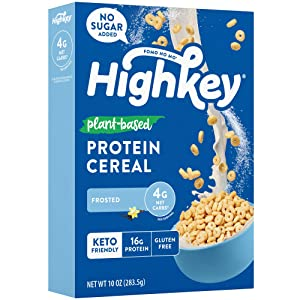 HighKey Keto Snacks Vegan Cereal - Low Carb Food Breakfast Cereals Healthy High Protein, Sugar Free & Gluten Free Snack Plant Based Paleo & Ketogenic Diet Friendly Foods and Treats Frosted