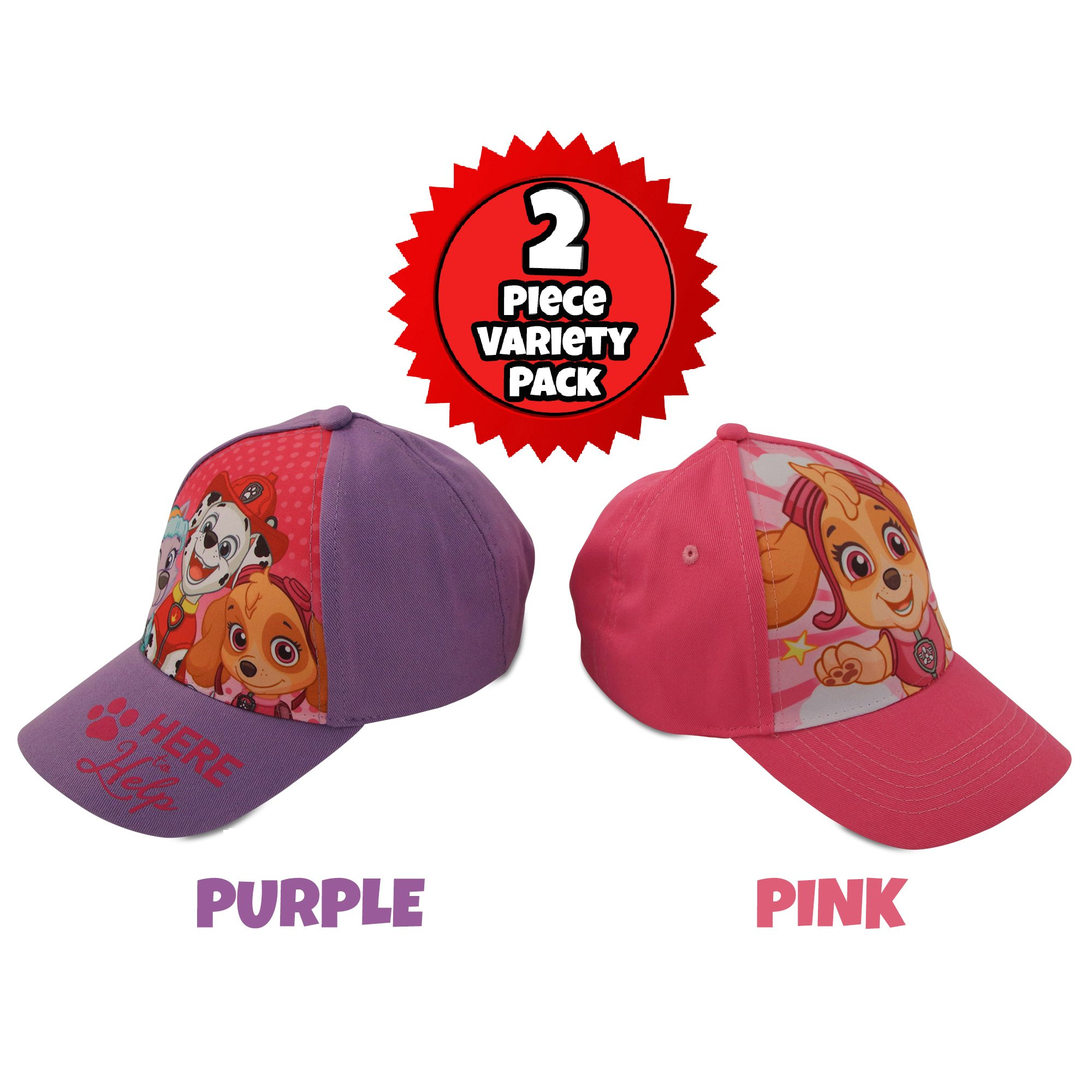 Nickelodeon Little Girls Paw Patrol Character Cotton Baseball Cap, 2 Piece Design Set, Age 2-7 (Little Girls – Age 4-7 (53CM)) by Nickelodeon (Image #1)