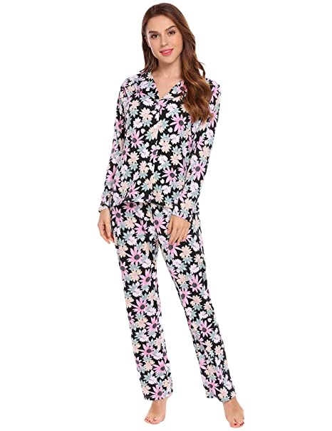 d30dc18408 Ekouaer Women's Comfy Floral Print Long Sleeves Floral Pajamas Set Sleepwear  Tops and Pants S-XXL at Amazon Women's Clothing store: