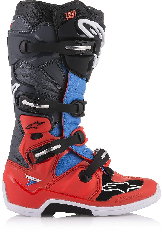 Alpinestars Tech 7 Boots-Red Flo//Cyan//Gray//Black-11