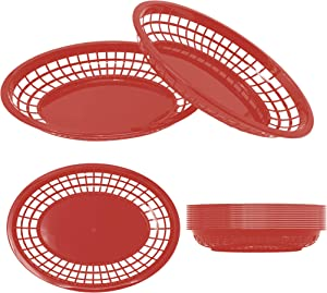 """Restaurant Basket Fast Food Baskets - HUGE 12"""" x 9"""" SIZE Classic Oval Retro Plastic Foodservice Bread, Burger & Fries Tray Platter Set For Party, Picnic, Barbecue (12 Pack, Red)"""