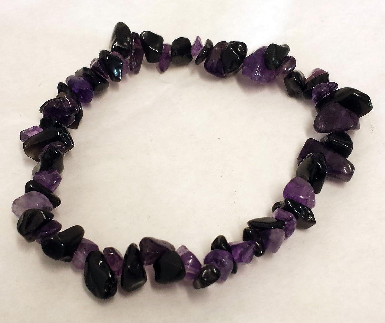 Morado y Negro Obsidiana pulsera de cuentas de chip–Protección de Cristal de curación