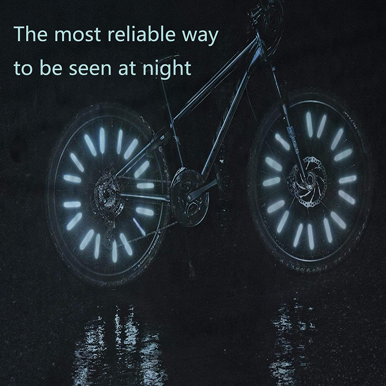 Reflective Mount Clip Tube Warning Strip Bike Spoke Waterproof Reflectors Front and Rear Reflector Stickers Cycling Wheel Spoke Reflector Clips 24 Pieces Silver Bike Reflectors Set