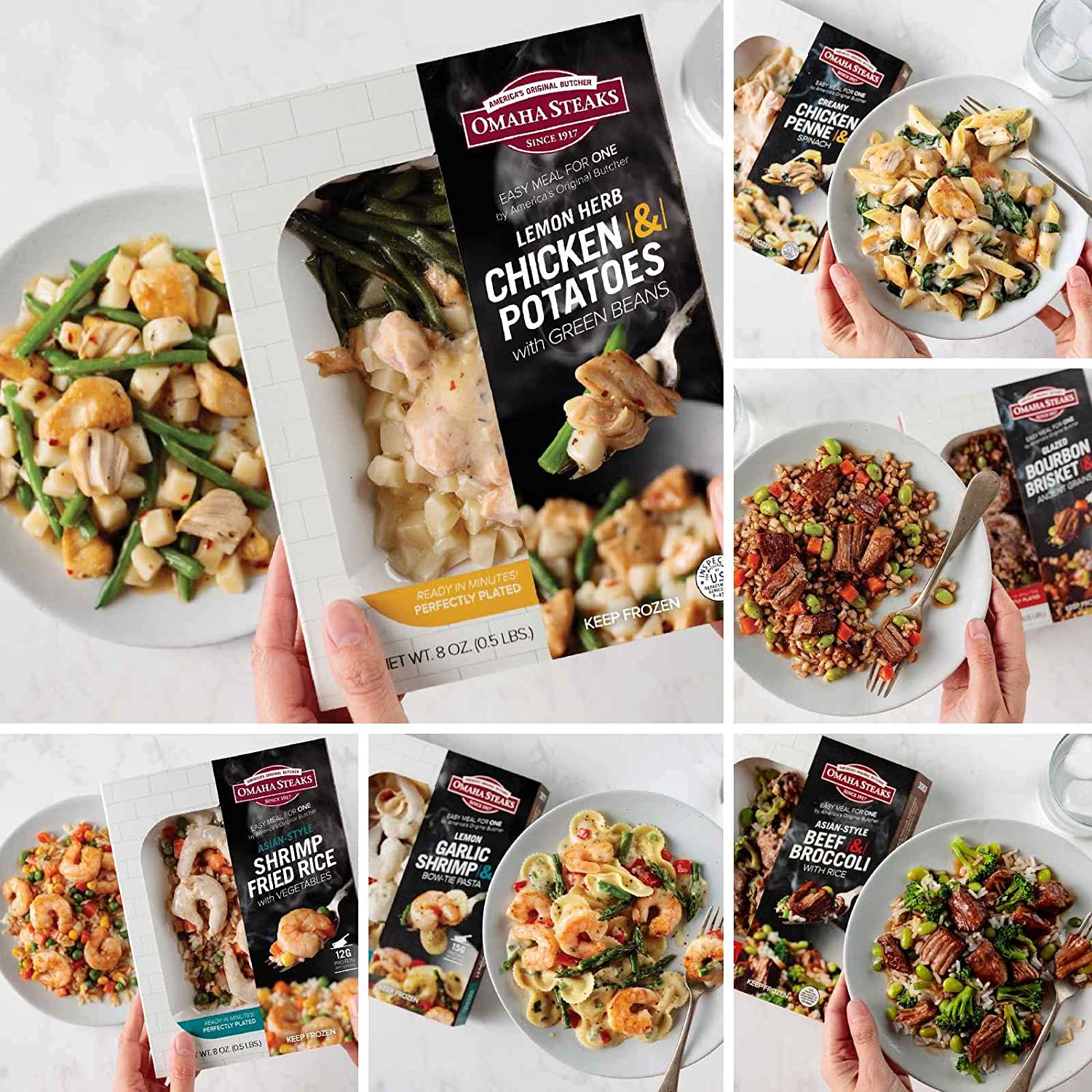 Quick and Easy Package from Omaha Steaks (Single Serve Meal: Lemon Herb Chicken & Potatoes, Single Serve Meal: Shrimp Fried Rice, Single Serve Meal: Lemon Garlic Shrimp, and more)