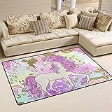 Size:80x150 cm Paco Home Children/'s Rug Children/'s Room Flying Unicorn Rainbow Stars Girls In Beige