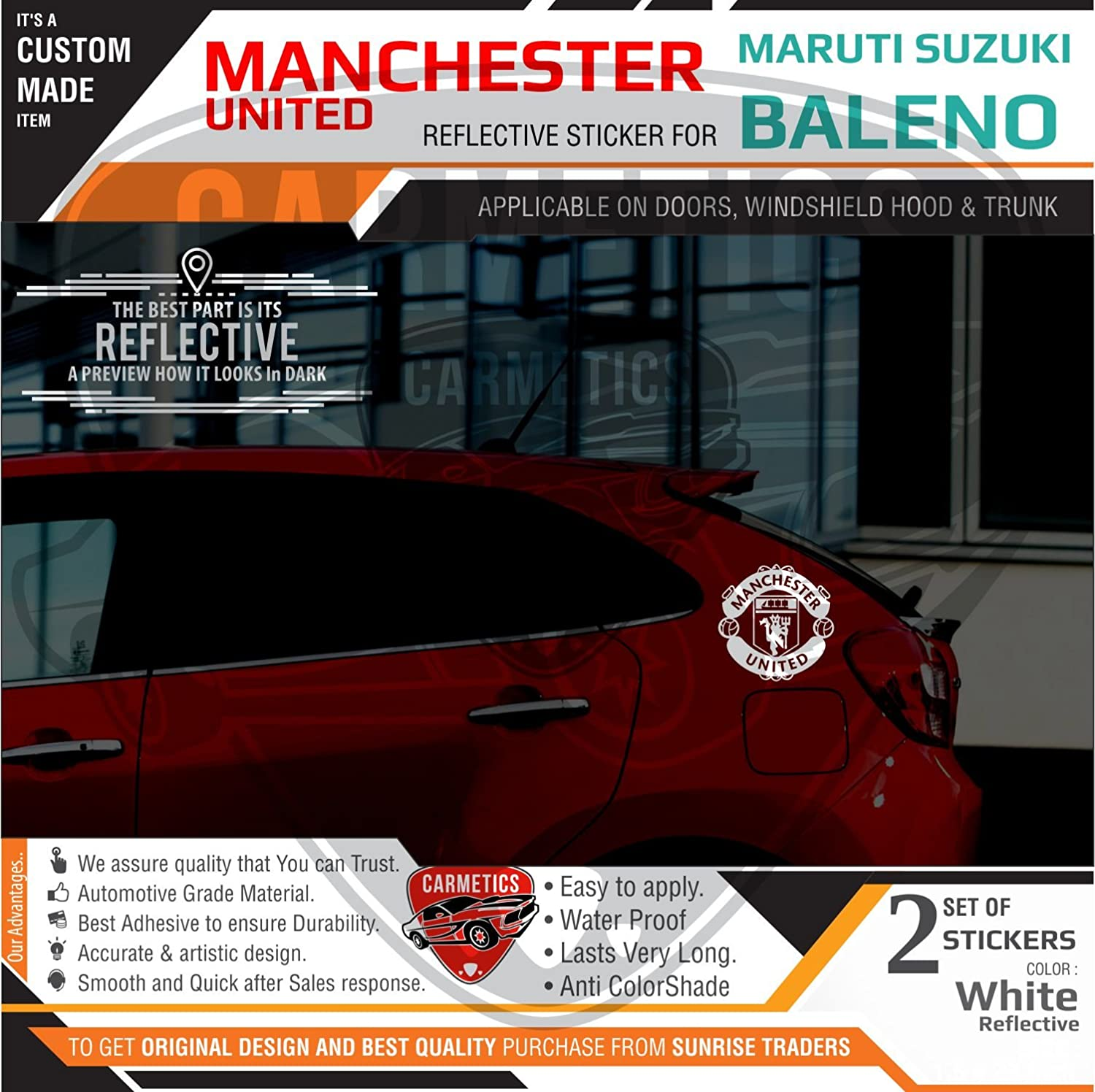 Carmetics manchester united stickers for baleno windows white 2pcs amazon in car motorbike
