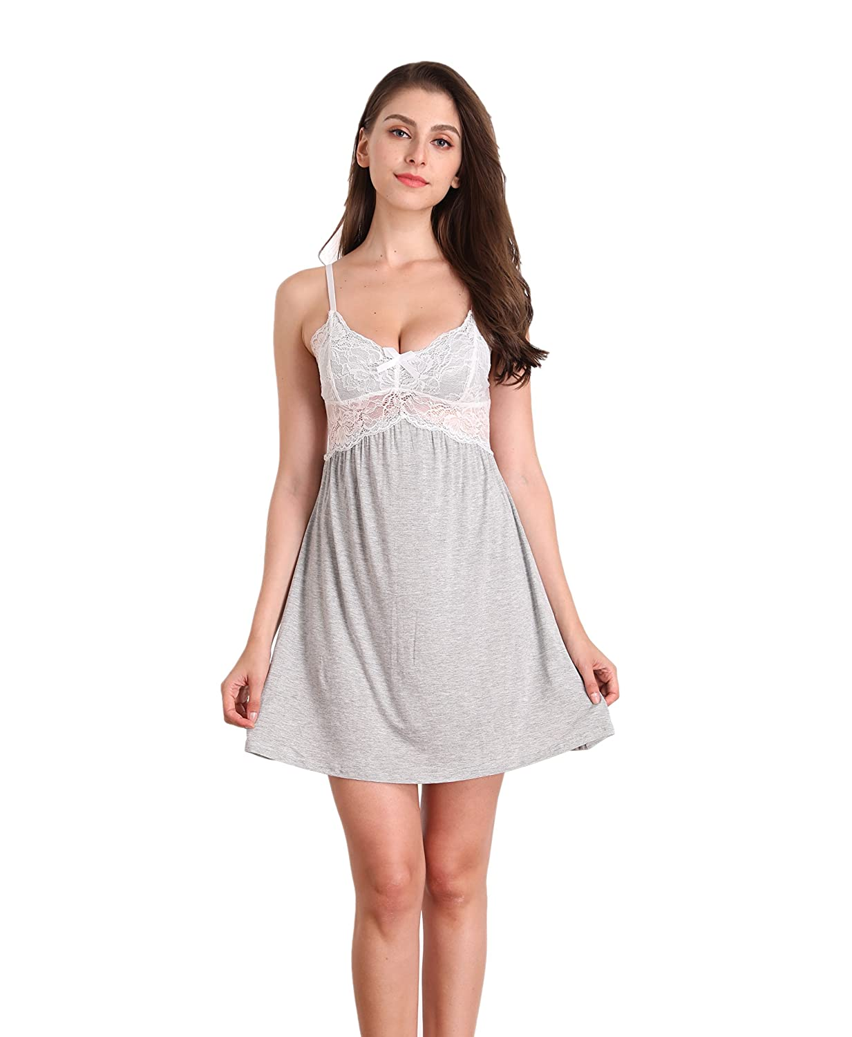 Memory baby Women's Sleepwear V-Neck Full Slips A Line Lace Sling Chemises Nightgown Dress S-XXL ZTFY0089