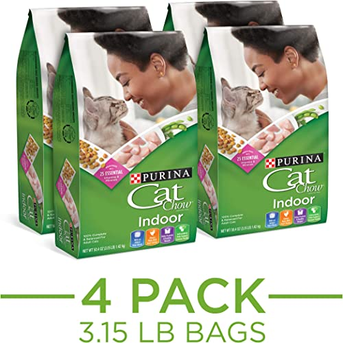 Purina Cat Chow Hairball, Healthy Weight, Indoor Dry Cat Food, Indoor, 3.15 Pound Pack of 4