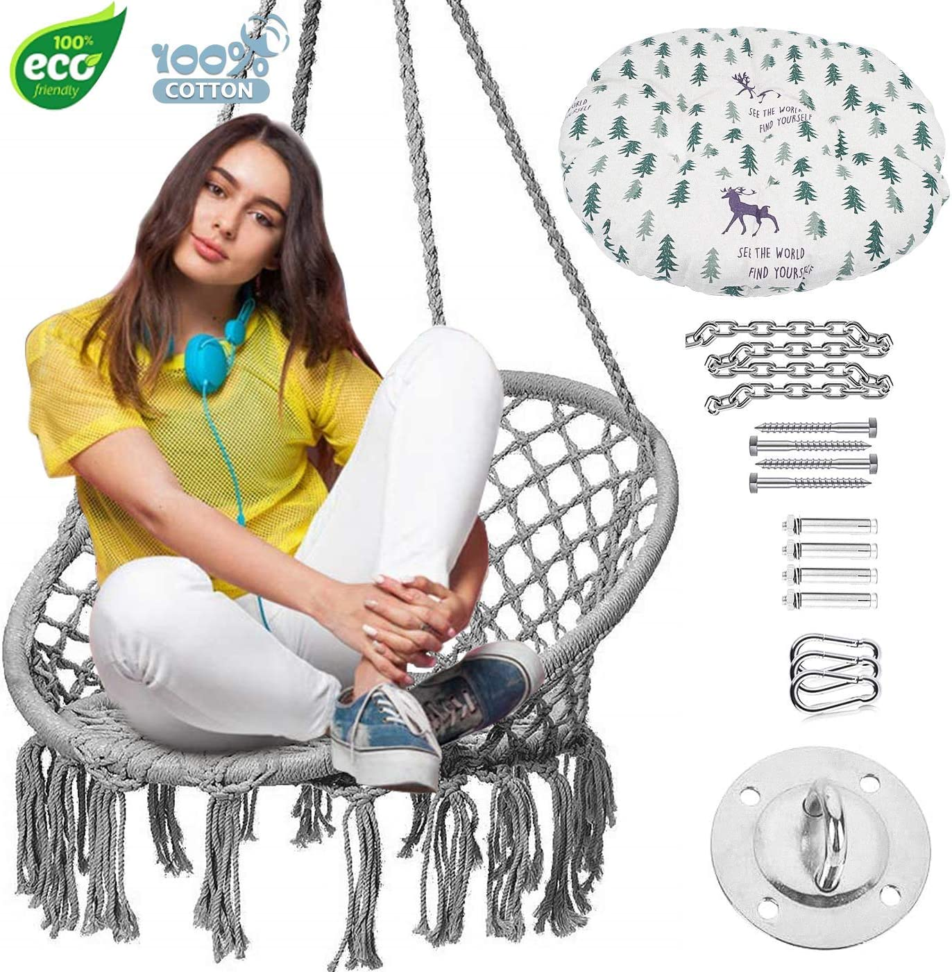 TINTONLIFE Hammock Chair Macrame Swing with Cushion Durable Hanging Hardware Kit Max 330 Lbs-Indoor Macrame Swing Chairs 100 Cotton Rope for Bedroom Outdoor Gift for Birthday Christmas Grey