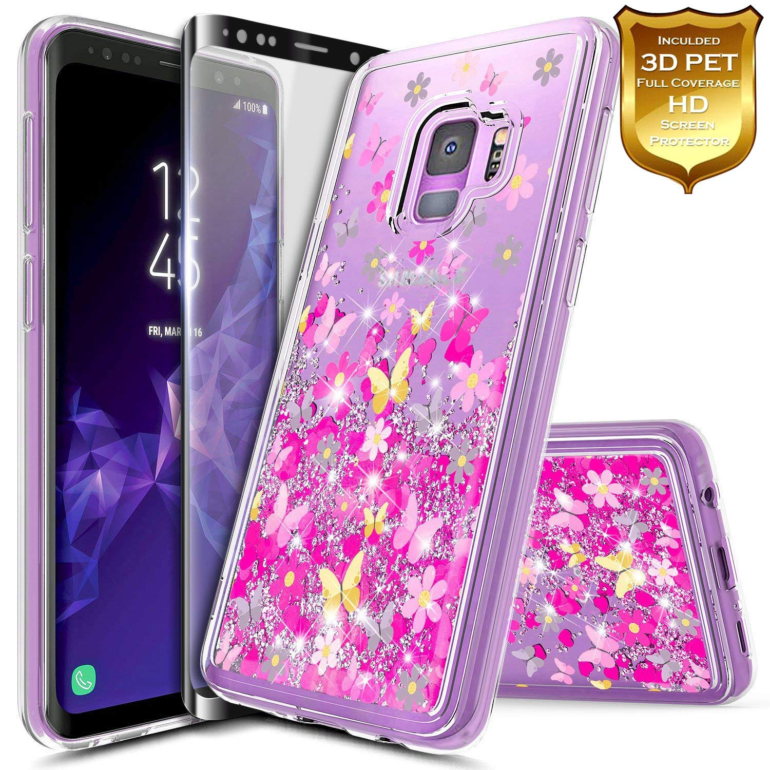 Galaxy S9 Case w/[Full Coverage Screen Protector Premium Clear], NageBee Glitter Liquid Quicksand Waterfall Flowing Sparkle Bling Diamond Girls Cute Case Designed for Samsung Galaxy S9 -Purple/Blue NGBS9LSZL