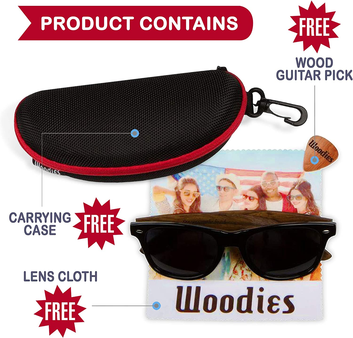 Woodies Zebra Wood Sunglasses with Black Polarized Lenses for Men and Women
