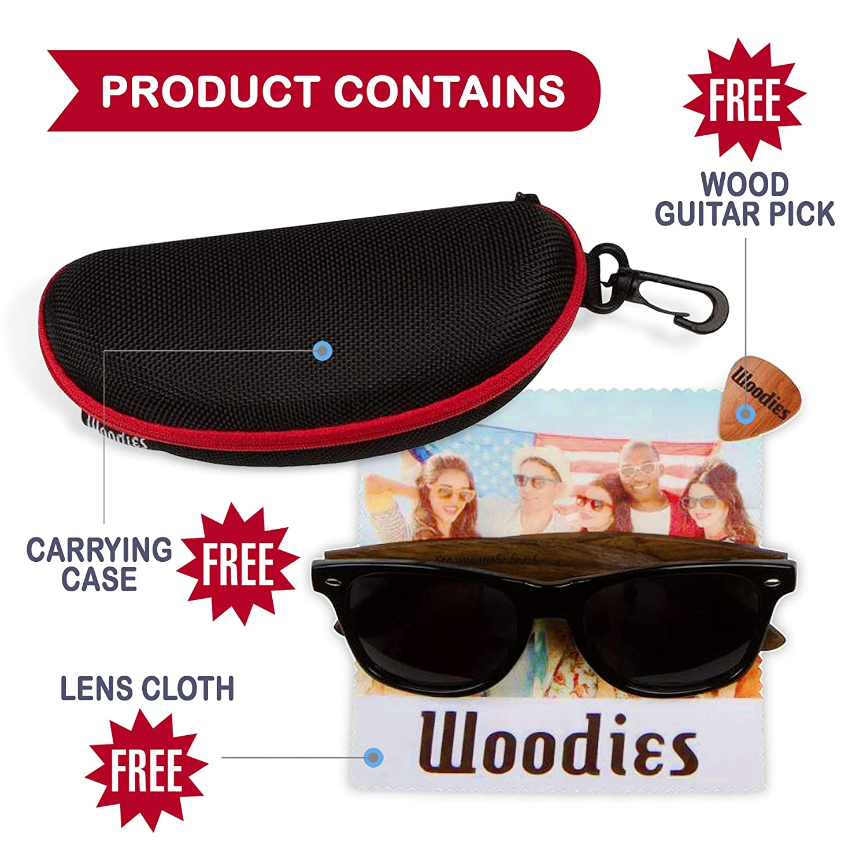 Amazon.com: WOODIES Wayfarer gafas de sol de madera con ...