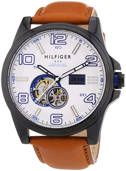 af573843f7 Tommy Hilfiger Men s 1790906 Brown Leather Automatic Watch with White Dial   Tommy Hilfiger  Amazon.ca  Watches
