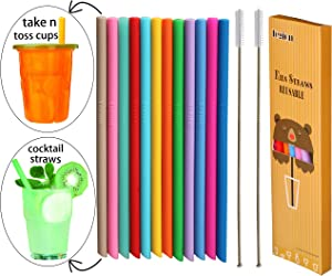 """Tegion Thin Short Pinch Test Passed 5.5"""" Reusable Toddlers& Kids Silicone Straws for Take and Toss Cups,Cocktails,6-14 oz Small Tumblers&Kids Cups-BPA Free-12 Pack Straws with 2 Bendable Brushes"""