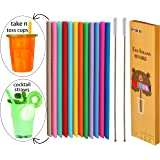 """Tegion Thin Short 5.5"""" Reusable Toddlers& Kids Silicone Straws for take and toss cups,cocktails,6-14 oz Yeti Lowball Rambler/Zak tumblers&kids cups/-BPA free 12 Pack Straws with 2 Foldable Brushes"""