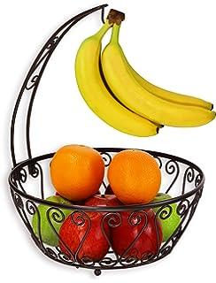 Amazon.com | ESYLIFE Wire Fruit Bowl with Banana Hanger Fruit ...
