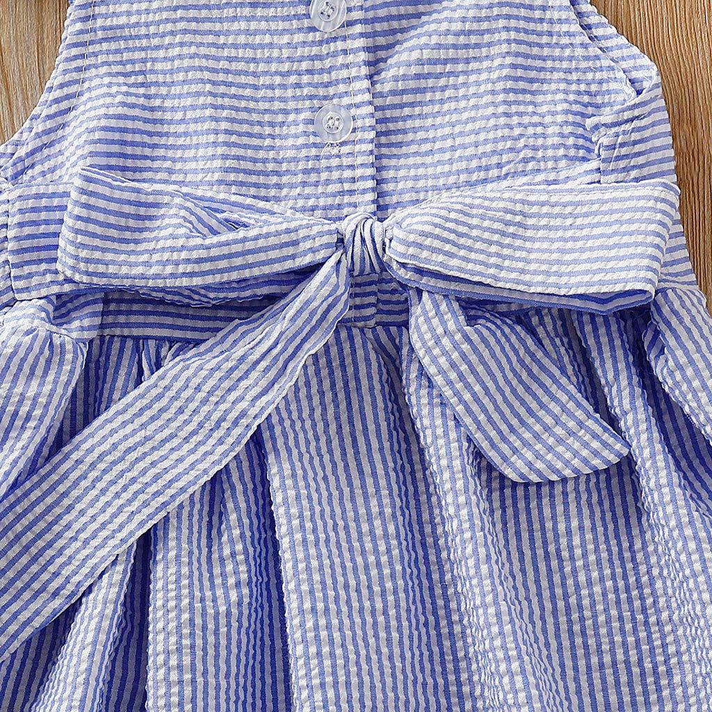 LEXUPE Baby-Kind-M/ädchen-Kleinkind-Streifen-Fliegen-H/ülsen-R/üsche-Partei-Prinzessin Dresses Clothes