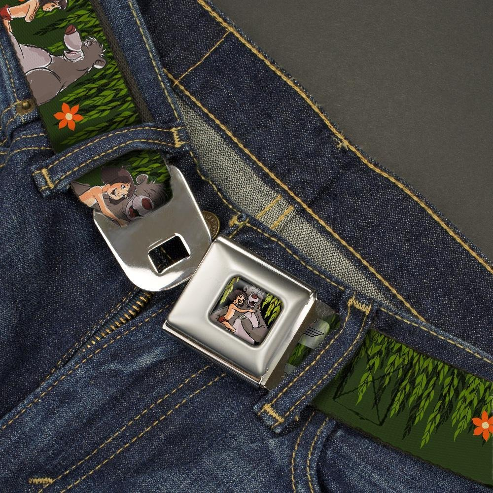 1.5 Wide Mowgli /& Baloo 3-Poses Leaves//Flowers Greens//Orange Buckle-Down Seatbelt Belt 32-52 Inches in Length
