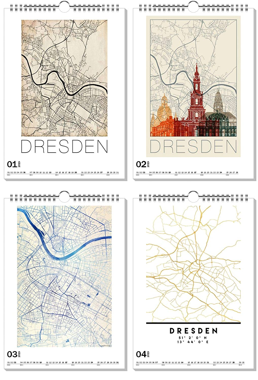 ArtboxONE Kalender 2019 Dresden City City City Maps Wandkalender A2 Städte Dresden B07H93JZQ8      Neue Produkte im Jahr 2019  4f25af