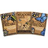 Bee, Butterfly and Meadow Friendly Wild Flower Seeds Trio Pack - Beautiful Flowers in Many Colours, Gardener Gift. Over 1000 Seeds Per Packet, RHS Perfect for Pollinators Mix