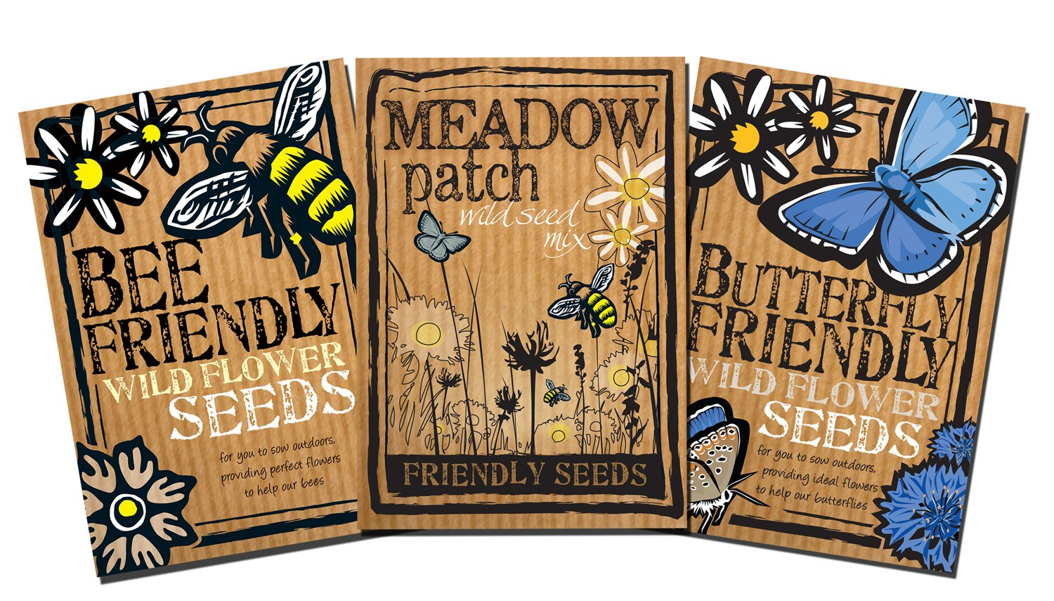 Bee, Butterfly and Meadow Friendly Wild Flower Seeds Trio Pack - Beautiful Flowers in Many Colours, Gardener Gift. Over 1000 Seeds Per Packet, RHS Perfect for Pollinators Mix Friendly Seed Company