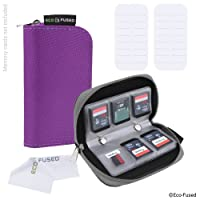 Memory Card Case - 2 Pack - Fits up to 22x SD, SDHC, Micro SD, Mini SD and 4x CF - Holder with 22 Slots (8 Pages) - For Storage and Travel - Microfiber Cleaning Cloth and Labels Included - Grey Purple