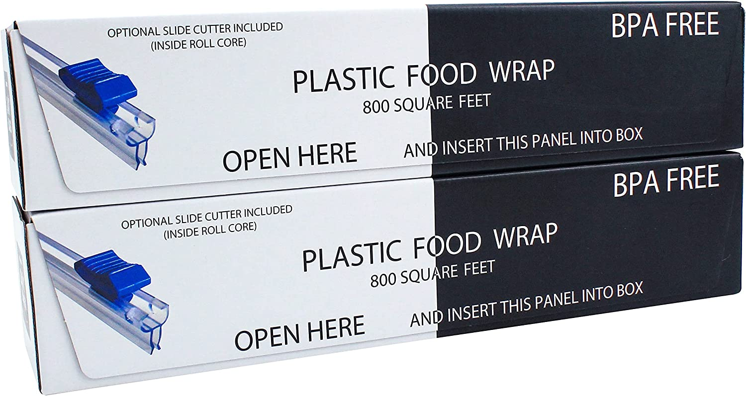 24/7 Bags   Plastic Food Wrap- 1600 Square Feet (2 Pack), Optional Slider Cutter, Edge Blade option and BPA-Free