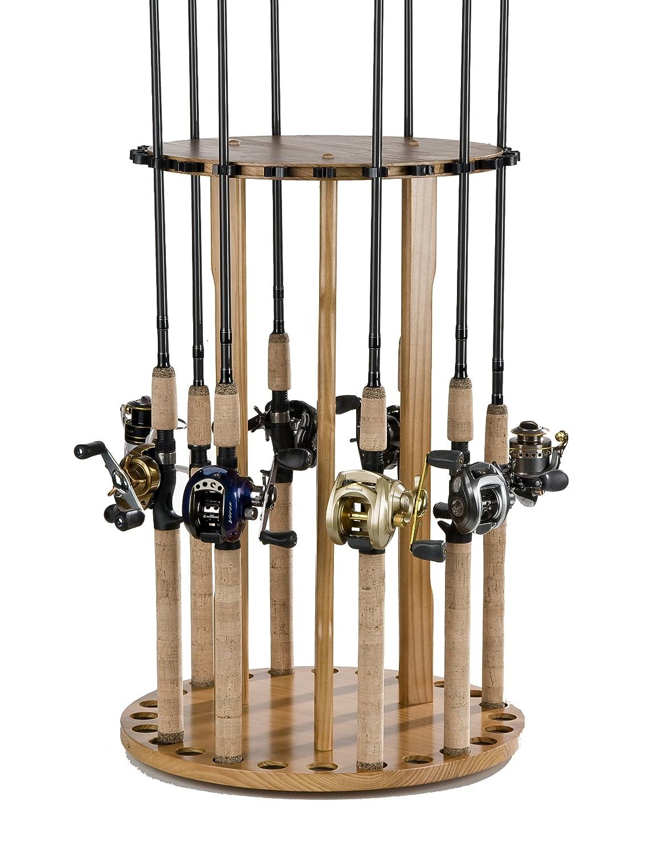 Organized Fishing Spinning Floor Rack for Fishing Rod Storage, Holds up to 24 Fishing Rods, Oak Finish, BPSP-024