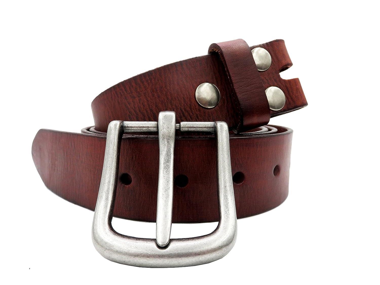 Mens Genuine Leather Belt Cowhide Strap Full Grain Removable Buckle Belts Jean