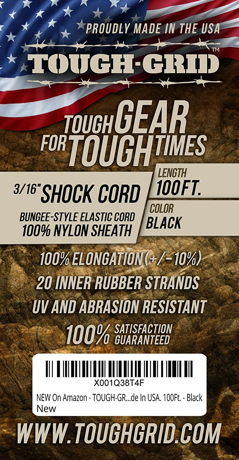 TOUGH-GRID New On  1//8 and 3//16 Shock Cord and Crafts 100/% Nylon Sheath Made in USA. Hiking 100/% Stretch Great for Emergency Supply