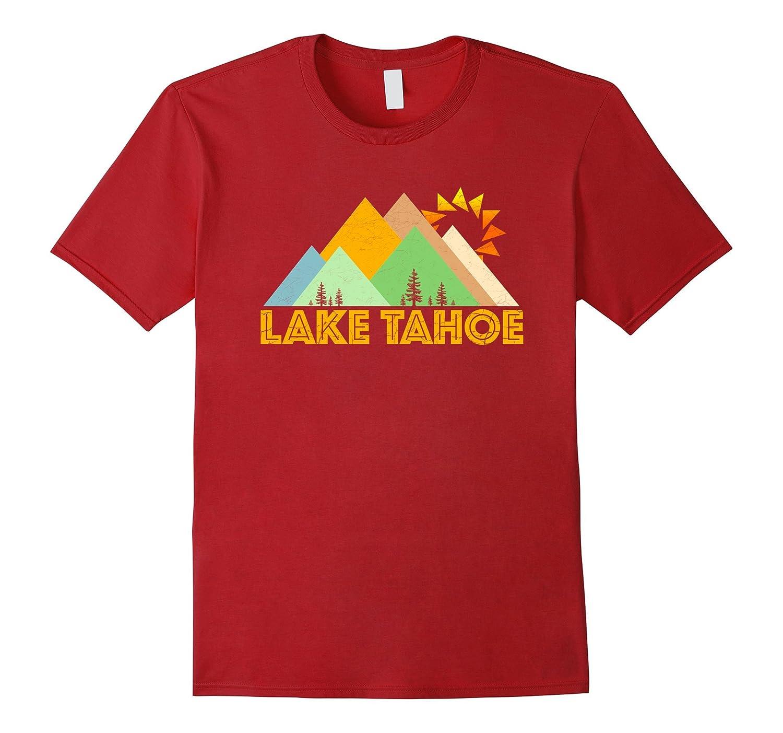 Retro Vintage Lake Tahoe Mountains Tee Shirt-FL