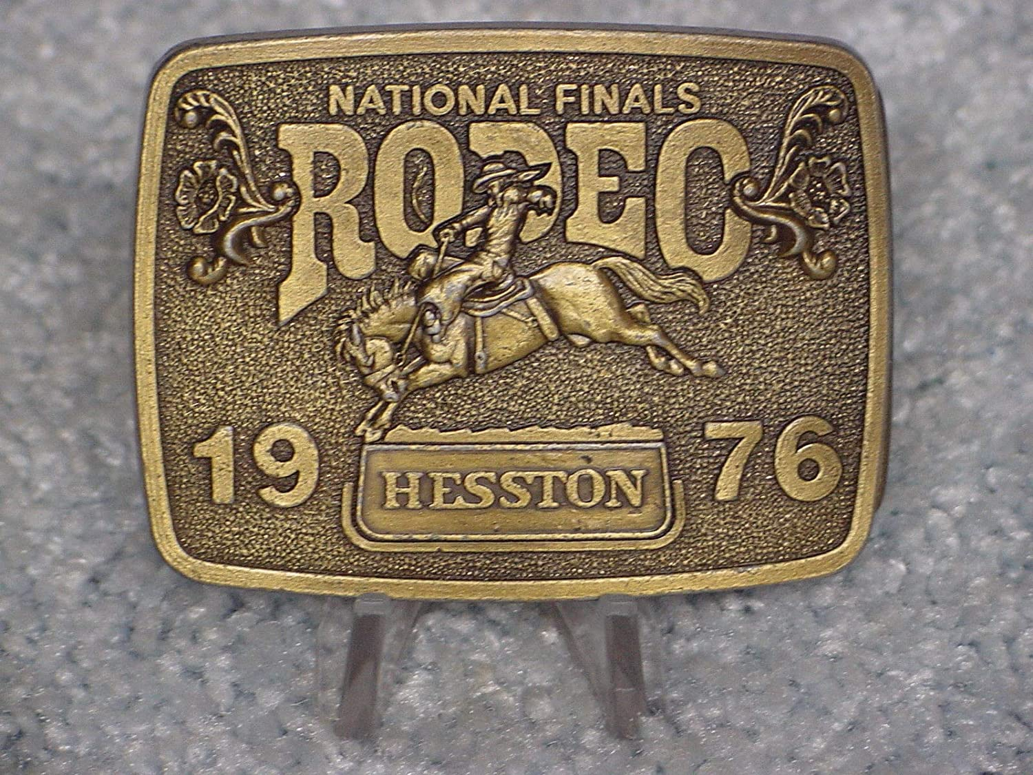 Vintage 1989 Hesston National Finals Rodeo Youth Size Belt Buckle FREE SHIPPING!