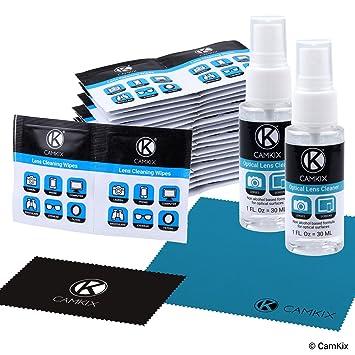 Juego de Limpieza para lentes y pantallas – 2 Botellas de Spray, 2 Paños de Microfibra (tamaño L + S), 50 paños húmedos envueltos individualmente - ...