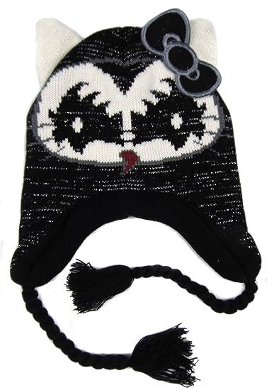 61d61e5bdfc Amazon.com  Hello Kitty Older Girls Kiss Peruvian Style Fleece Lined Hats  Four Styles (Black)  Clothing