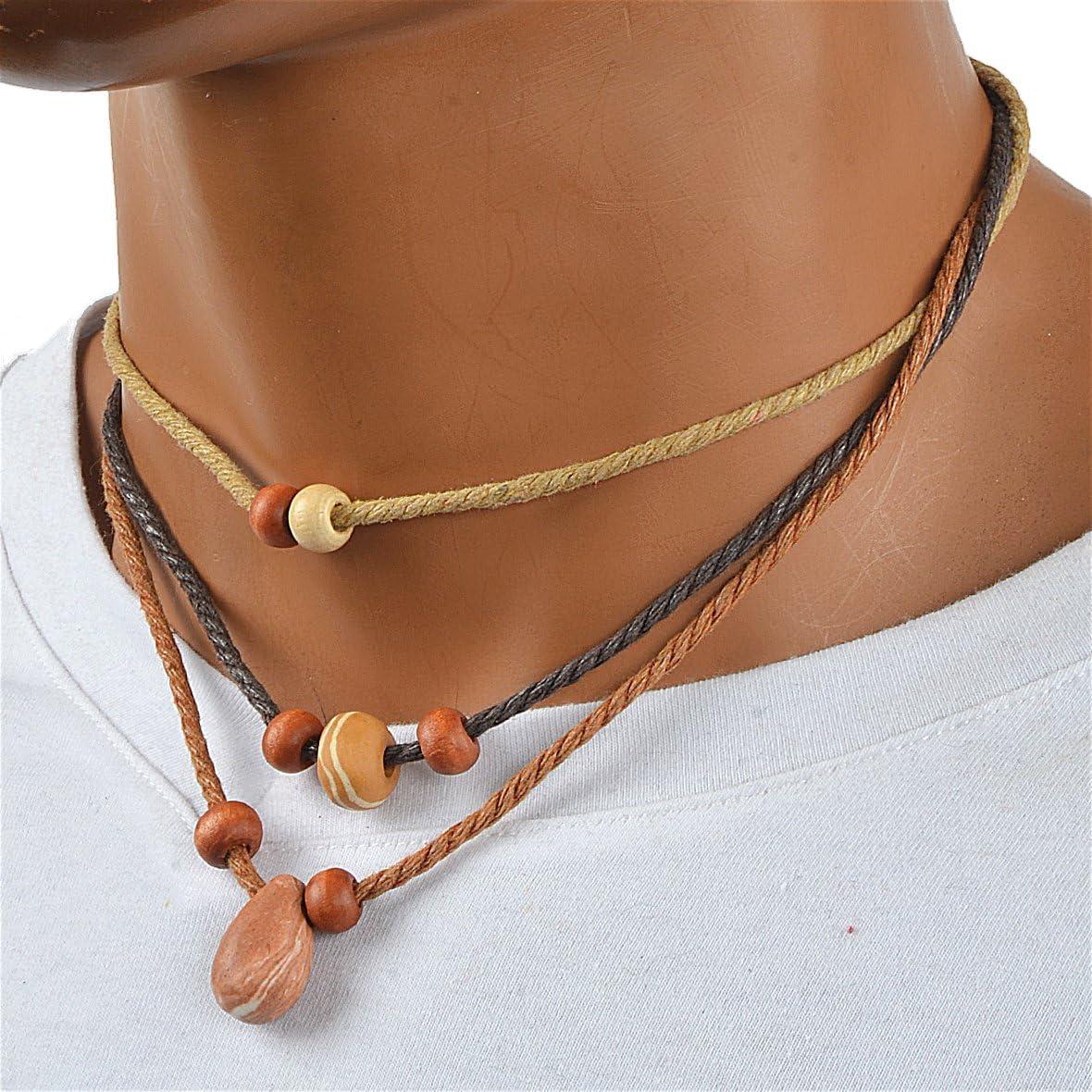 3L-Khaki JESSE /· RENA Mens Jewelry Hemp Beach Choker Pendant Surfer Necklace Accessories