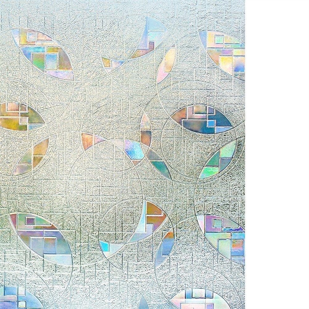 Liveinu Film de Fen/être Statique 3D Film Vitrage D/époli Film Vitre Intimit/é Statique Film D/écoratif Adh/ésif Film Autocollant R/éutilisable UV Protection Pour Verre 45 x 200 cm Baroque classique